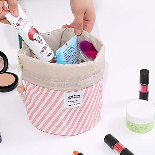 Travel Cosmetic Bag Travel Makeup Bag Organizer Women Girls Barrel Shaped Hanging Toiletry Wash Bags Drawstring Makeup Storage Bag + Small Pouch+ Clear PVC Brush Bag (Pink and white)