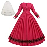 Women Vintage 1860s Victorian Dress Long Sleeve with Petticoat Victorian Dresses for Women (L, Rose)