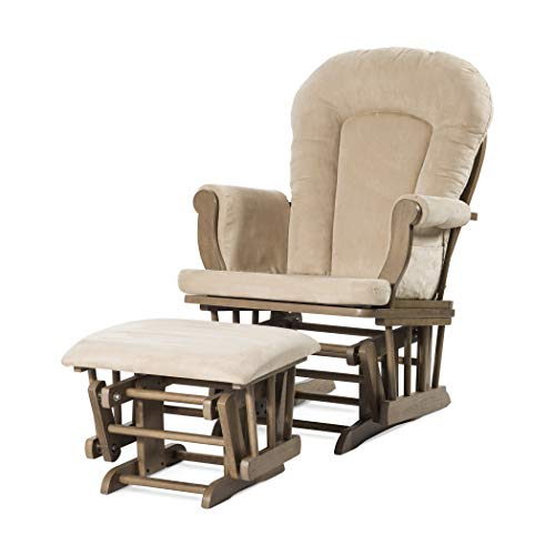 Forever Eclectic by Child Craft Cozy Glider Rocker and Ottoman, Dusty Heather with Beige Cushion