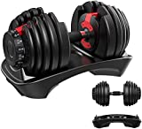 YPC Single Adjustable Dumbbell,5lb-52.5lb Fast Adjust Weight Dumbbell,Training Weights Gym Equipment for Man and Women Exercise Dumbbell (52.5Lbs)