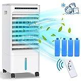 Condizionatore D'aria, Raffreddatore D'aria Grande 5 in 1 ,Raffrescatore Evaporativo Portatile ,Umidificatore,Ventilatore,3 Modalità, Ione Negativo,Timer 1-7 H,Con Ruote e Telecomando,65 W, 5L