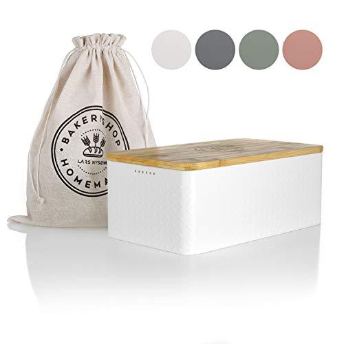 LARS NYSØM Brotkasten I Brotdose in Weiß mit inkludiertem Brotsack aus Leinen für langanhaltende Frische I Brotbox mit hochwertigem Bambusdeckel verwendbar als Schneidebrett I 33x19x12 cm