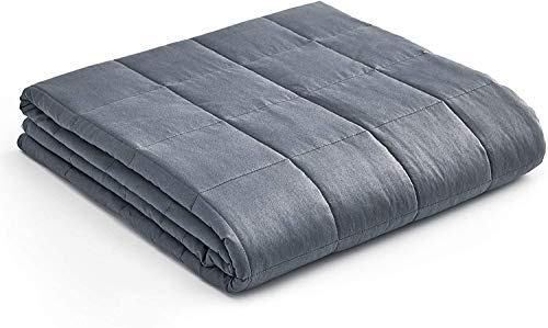YnM Weighted Blanket  Heavy 100% Oeko-Tex Certified Cotton Material with Premium Glass Beads (Dark Grey, 80''x87'' 25lbs), Two Persons(110~190lb) Sharing Use on Queen/King Bed | A Duvet Included