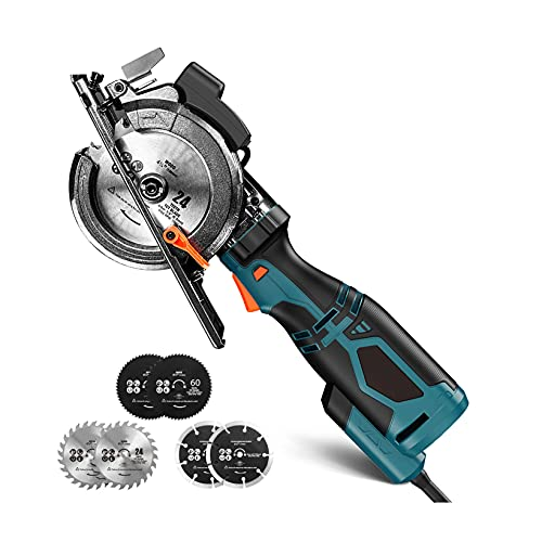 "Mini Circular Saw, 5.8A 3500RPM, Metal Handle, 6 Blades (4-3/4' & 4-1/2""), Laser, Cutting Depth 90° (1-11/16''), 45° (1-3/8''), Power Circular Saw for Wood, Soft Metal, Plastic- TCS115A"