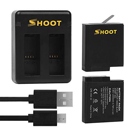Yangers Batteria da 2 pacchi con hub per caricabatterie parallelo USB doppio per GoPro Hero 7 Black/Hero 6 5 / Hero (2018) / Firmware v01.50, v01.55, v01.57, v02.00 e v02.51 Accessori per fotocamere
