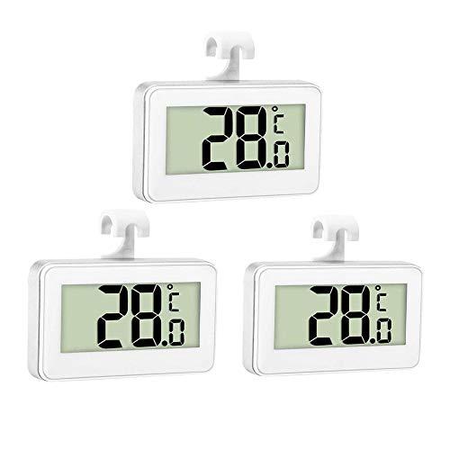 Thlevel 3PCS Termometro Frigorifero Termometro Digitale per Frigorifero Congelatore Impermeabile con Gancio, Display LCD di Facile Lettura