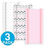 Premium Changing Pad Cover Girl 3 Pack   100% Cotton, Jersey Soft   Changing Table Pad Cover   Pink & Grey Diaper Changing Pad Covers   Baby Shower Registry Gift