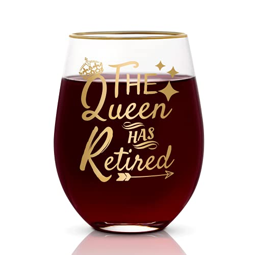 Onebttl Best Unique Retirement Gifts for Women- Copa de vino sin tallo de 500 ml- Regalos de mordaza jubilados para mujeres, maestras, madres, hermanas, abuelas, amigos, maestras, jefes