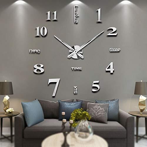 Modern Mute DIY Frameless Grande horloge murale 3D Mirror Sticker Metal Big Watches Décorations de Home Office-2 ans de garantie (argenté-14)