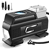 Merece Tire Inflator Portable Air Compressor AC/DC 12V Air Compressor for Car Tires, Cordless Tire Pump with Rechargeable Built-in Battery Small Digital Quiet Tire Air Compressor with Pressure Gauge