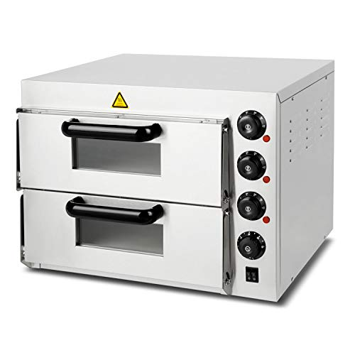 Vertes forno per pizza professionale elettrico (3000 watt, con 2 camera, intervallo di temperatura 0-350C, funzione timer, gastronomico, acciaio inossidabile)
