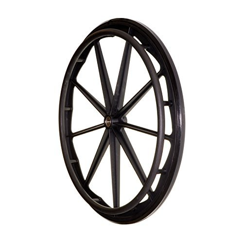 Flat Free Rear Wheels for Wheelchair for 16-18-20 Inch Wheelchairs, Wheelchair Wheels Replacement With Bearings and Handrim, wheels for Healthline Drive Wheelchairs, Solid Black (Set of 2)