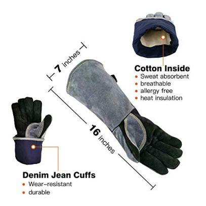 WZQH-16-Inches932Leather-Forge-Welding-Gloves-with-Kevlar-Stitching-HeatFire-ResistantMitts-for-BBQOvenGrillFireplaceTigMigBakingFurnaceStovePot-HolderAnimal-Handling-GloveBlack-gray