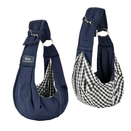 CUBY Haustiere Welpen Kleine Hunde Katze Sling Pet Tragetuch Rucksack   Single Schulter Pet Bag für Reisen   Verstellbare Schultergurte (Blau)
