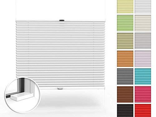 Home-Vision® Premium Plissee nach Maß, zum Anschrauben in der Glasleiste Innenrahmen Blickdicht Jalousie mit Halterungen zum Bohren, Verschiedene Profilfarben (Weiß, B61-70cm x H151-200cm)