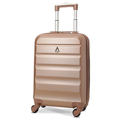Aerolite Leichter ABS Hartschale 4 Rollen Handgepäck Trolley Koffer Bordgepäck Gepäck, Genehmigt für Ryanair, easyJet und viele mehr, Roségold