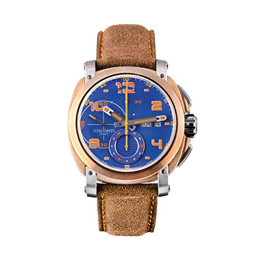 Visconti Herren-Armbanduhr Chronograph Automatik Leder Majorca Bronze mit blauem Zifferblatt KW30-31
