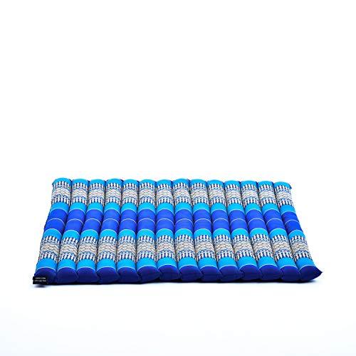 Leewadee Tappetino da Meditazione Zabuton: Cuscino da Pavimento Quadrato, Seduta per Yoga thailandese in kapok Ecologico, 69 x 78 cm, Blu