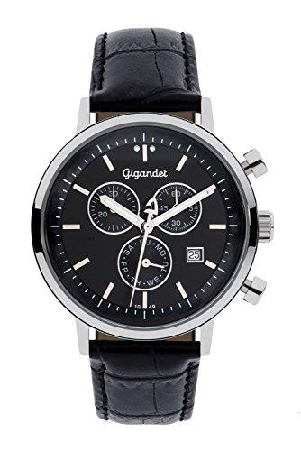 Gigandet Classico Herren-Armbanduhr Chronograph Quarz Analog Lederarmband schwarz G6-004