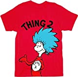 Dr. Seuss Thing 1 or Thing 2 Adult Red T-shirt (Adult X-Small, Thing 2)