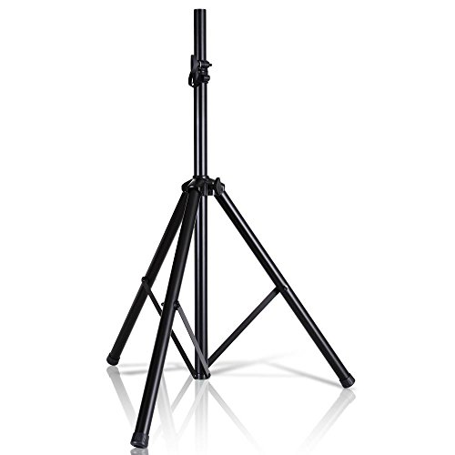 Pyle Universal Speaker Stand Mount Holder Heavy Duty Tripod w/ Adjustable Height from 40 to 71 and 35mm Compatible Insert Easy Mobility Safety Pin and Knob Tension Locking for Stability PSTND2