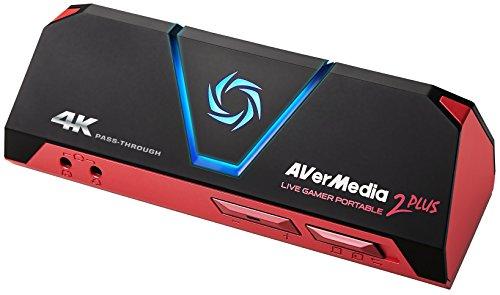 AVerMedia Live Gamer Portable 2 Plus, 4K Pass-Through, 1080p60 USB-Spieleerfassung, Niedrigste Latenzzeit, Aufnahme, Stream, Plug & Play, Party Chat für Xbox, Playstation, Switch (GC513)