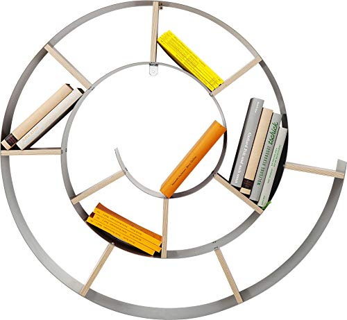 Kare 70755, Libreria da parete, modello: Snail, 75 x 75 x 13 cm, Argento, legno