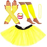 Redstar Fancy Dress Ensemble Bracelet fluo Tutu Jambières Gants en résille Collier de perles -...