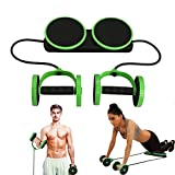 Multi Function Double AB Roller Wheel Exercise Equipment for Home Gym,Abdomen and Arm Workout Equipment Waist Slimming Trainer for man and women (Green)