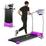 Folding Treadmill, Electric Running Machine with LCD Monitor Motorized Walking Running Machine Equipment for Home Gym (Purple)