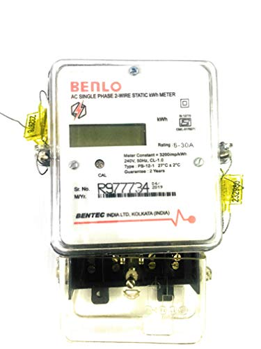 BENTEC Benlo Electronic Energy Sub Meter AC Single Phase 2-Wire Static kWh (LCD Type) Display Class-1 5-30 Ampere, Small, White