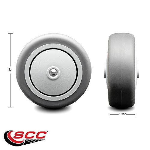 4' x 1.25' Gray Thermoplastic Rubber Wheel Only with Precision Ball Bearing - 3/8' Bore - Non Marking/Non Marring - 190 lbs Capacity - Service Caster Brand