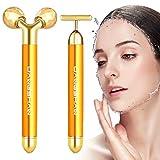 2-EN-1 Beauty Bar 24k Golden Pulse Massage Facial Visage Massager, 3D Roller...