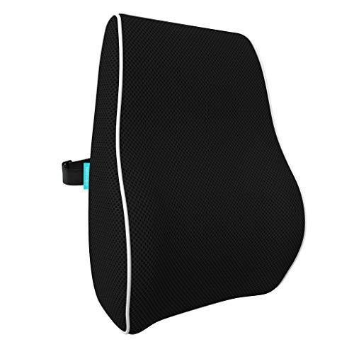 bonmedico Ergonomisches Rücken-Kissen aus Memory Foam, Rückenkissen für Bequeme Sitzhaltung im Alltag, Lendenkissen für Büro & Zuhause, Schwarz, Standard