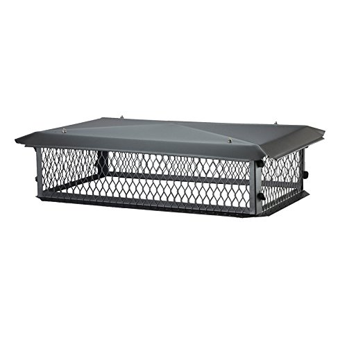 HY-C BBT1430K BigTop Multi-Flue Chimney Cover, Black Galvanized Steel, 8' H x 14' x 30' - with Minimum 17' x 33' Required Overall Chimney Dimension