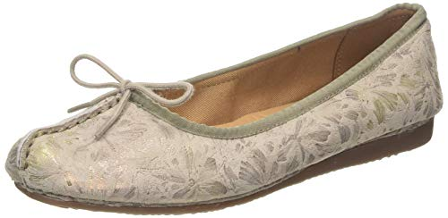 Clarks Freckle Ice, Bailarinas para Mujer, Gris (Taupe Leather Taupe Leather), 39.5 EU