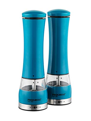 Progress BW05375BL Electric Salt and Pepper Mills with Light, Blue