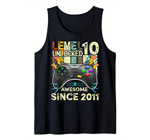 Level 10 Unlocked Awesome 2011 Video Game 10th Birthday Gift Tank Top