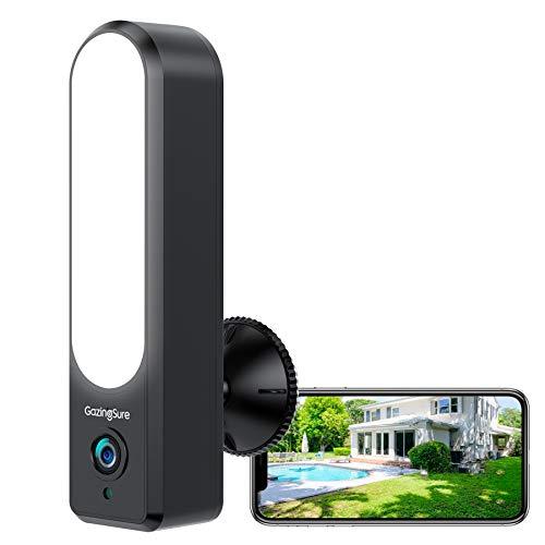 GazingSure telecamera wifi esterno con luce, lavoro con Alexa, 1080P FHD Videocamera sorveglianza esterno wifi, visione notturna 30m, conversazione a 2 vie, IP67 resistente