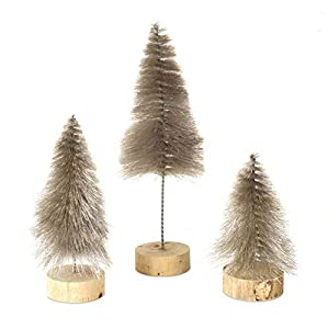 "Bottle Brush Christmas Village Tree Silver Soft Bottle Brush in a Wood Base Measure 6.5"", 8.25"" and 12"" Set of 3 Christmas Village Trees Perfect to celebrate the season with ease and delight your guests with good old fashioned holiday style"