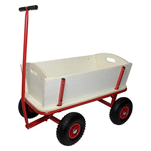 Julido Bollerwagen Transportwagen Handwagen Gartenkarre Luftreifen Holz Gartenanhänger Gartenwagen