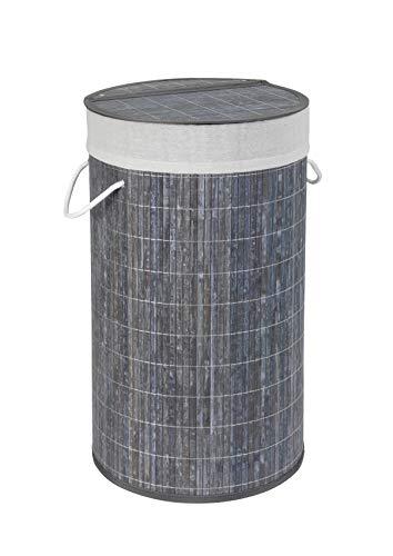Wenko 22104100 Wäschetruhe Bamboo Grau, Wäschekorb, mit Wäschesack, Bambus, 35 x 60 x 35 cm, Grau