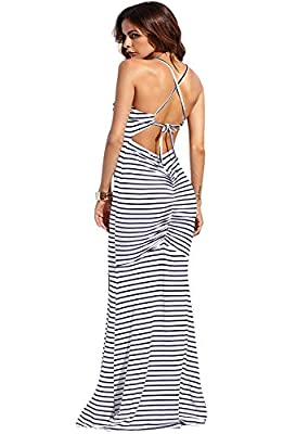 Materials: 97% Polyster,3% Spandex, Length of the dress might be longer than usual, please check the SIZE CHART before ordering Striped,criss-cross,shirred back,floor-length,and bodycon maxi dress Designed with fishtail,high waist, sexy and elegant, ...