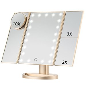 Magicfly Vanity Mirror Lighted Makeup Mirror 10X 3X 2X 1X Magnifying Mirror with 21 LED Lights, Trifold Mirror with… 8