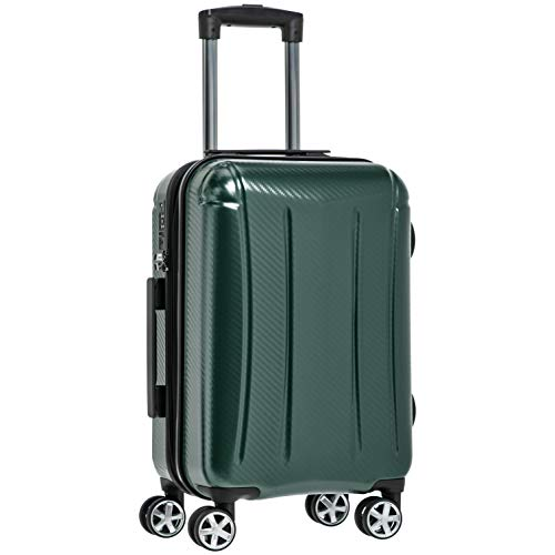 AmazonBasics Oxford Carry-On Expandable Spinner Luggage Suitcase with TSA Lock - 21.8 Inch, Green