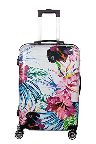 Birendy Reisekoffer Polycarbonat Hartschalen Hardcase Trolley mit Zahlenschloss Koffer Kofferset 4 Rollen einfacher Transport (A4-Blumen bunt, L - Handgepäck 55x35cm)