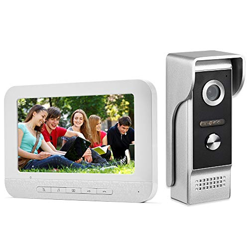 AMOCAM Video Intercom System,7 Inches Monitor Wired Video Door Phone Doorbell Kits, IR Night Vision Camera Door Intercom, Support Unlock, Monitoring, Dual-Way Intercom for Home Video Surveillance
