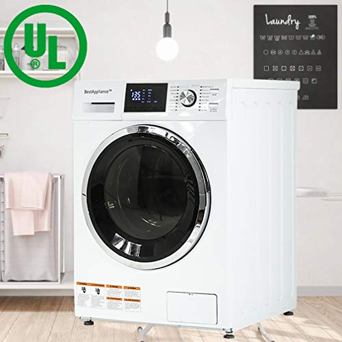 BestAppliance Washer Dryer Combo Combination Washing Machine Turbo Wash 2.7Cubic. ft. Capacity Compact Laundry 24 Inch Electric Dryer and Washer Stainless Steel Drum with Four Transport Bolts,White