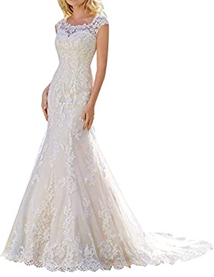 Sexy Mermaid Wedding Dresses With Long Train Materials: Lace. Features: Mermaid Style, Cap Sleeves, Illusion Back, Long Train. Zipper Button Closure. Please refer to the standard size chart displayed left below the picture. Not Amazon's. Customized s...