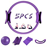 5 Pcs Pilates Ring Set 14' Yoga Fitness Magic Circle Pilates Equipment for Home Workouts Include Ball,Stretching Strap,Extension Strap and Training Ring for Fitness kit